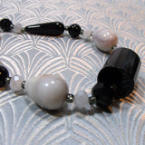 black grey handmade necklace, grey black semi-precious stone necklace