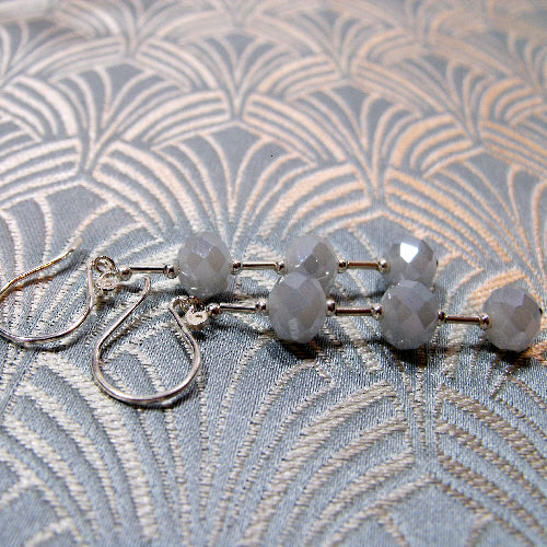 long drop semi-precious stone earrings, long dangle grey gemstone earrings