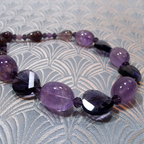 amethyst necklace uk, semi-precious stone necklace, handcrafted necklace