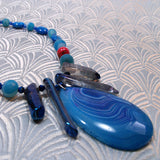 blue agate gemstone pendant necklace, semi-precious agate necklace uk, handmade agate jewellery