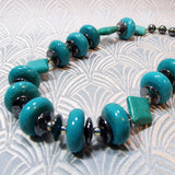 unique turquoise necklace, semi-precious stone necklace, handmade necklace uk