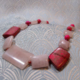 short rose quartz necklace uk, rose quartz unique gemstone necklace short length