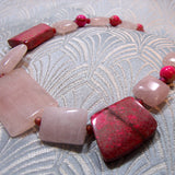 rose quartz necklace, pink semi-precious stone design