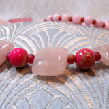 pink jasper pink rose quartz necklace handmade uk