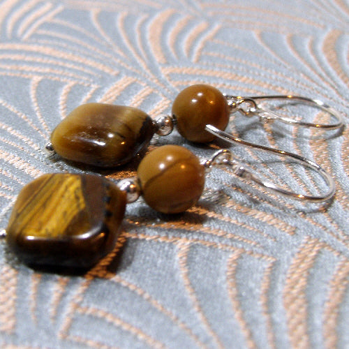 medium drop tigers eye earrings, semi-precious tigers eye jewellery
