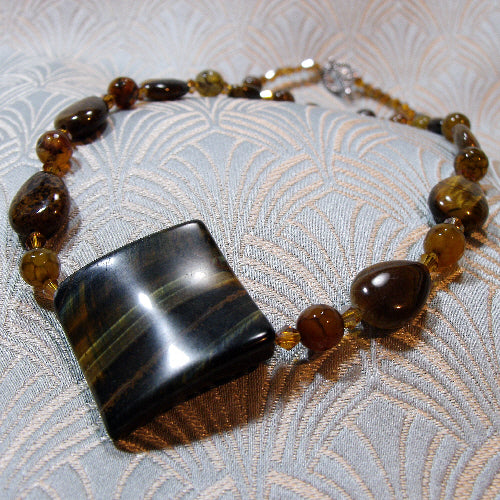 tigers eye necklace uk, handmade semi-precious stone necklace
