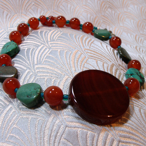 Handmade necklace jewellery Carnelian, medium length semi-precious stone Carnelian necklace