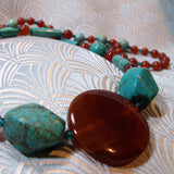 semi-precious turquoise bead long necklace