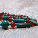 long turquoise semi-precious beads for necklaces