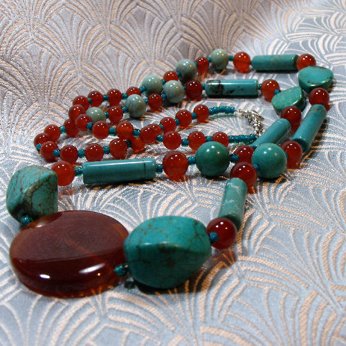 long turquoise necklace, unusual semi-precious stone necklace