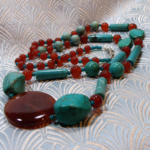 long semi-precious stone jewellery necklace uk, turquoise necklace, long turquoise handcrafted necklace
