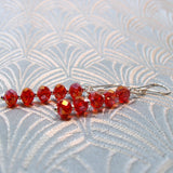 long drop red crystal earrings