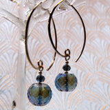 long drop blue crystal earrings