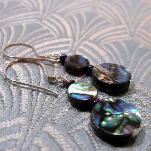 semi-precious stone jewellery handmade paua shell earrings