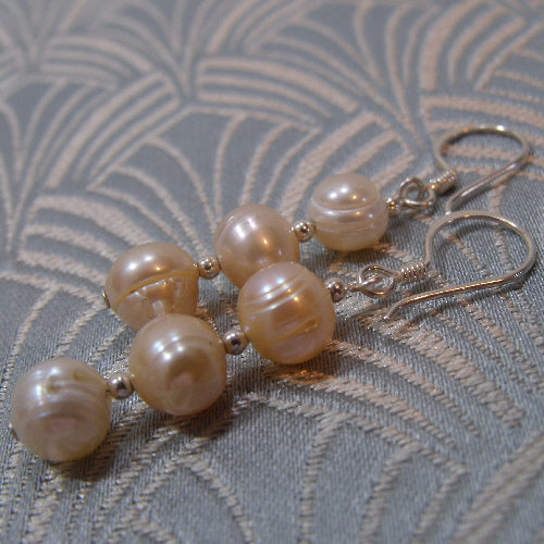 freshwater pearl earrings, handmade earrings uk, pearl drop earrings