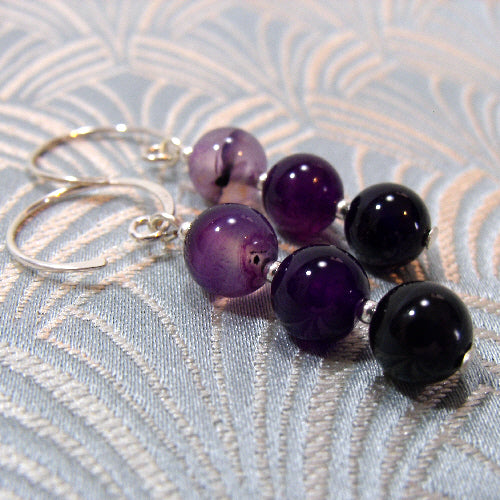 purple agate earrings, unique semi-precious stone agate jewellery uk