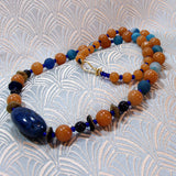 unique blue orange semi-precious necklace design