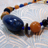blue orange handmade semi-precious necklace