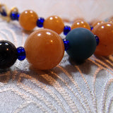 blue orange semi-precious stone beads