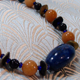 unique blue orange semi-precious stone jewellery design
