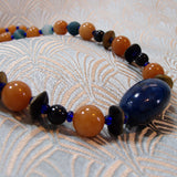 beaded semi-precious stone jewellery, blue and orange necklace