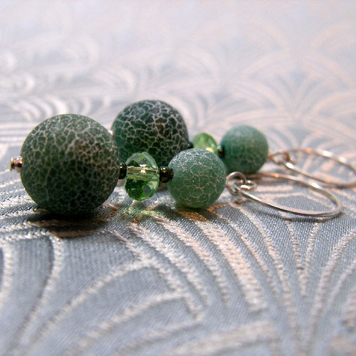 handmade agate earrings, green drop earrings, beaded semi-precious stone earrings