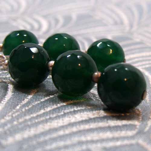 dark green drop agate jewellery earrings, handmade earrings, semi-precious agate earrings uk
