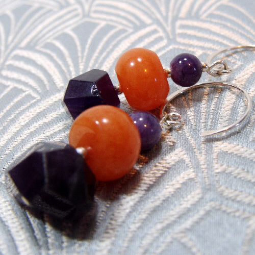 unique amethyst jewellery, medium drop semi-preciuous earrings, Amethyst jewellery