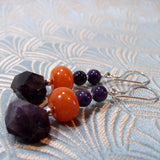 semi-precious amethyst long dangle earrings
