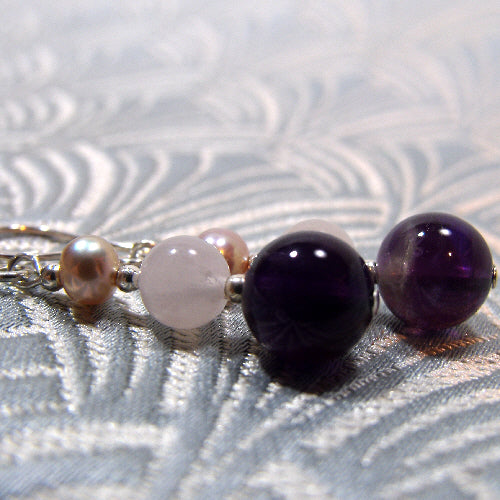 quartz amethyst medium drop earrings, handmade semi-precious jearrings, handcrafted earrings