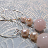 long rose quartz drop earrings handmade uk