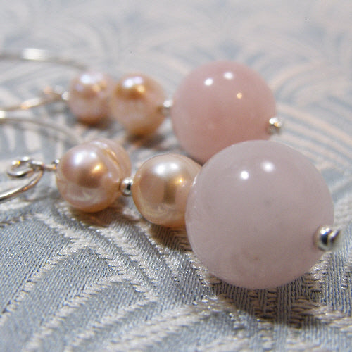 semi-precious stone earrings uk, rose quartz earrings UK