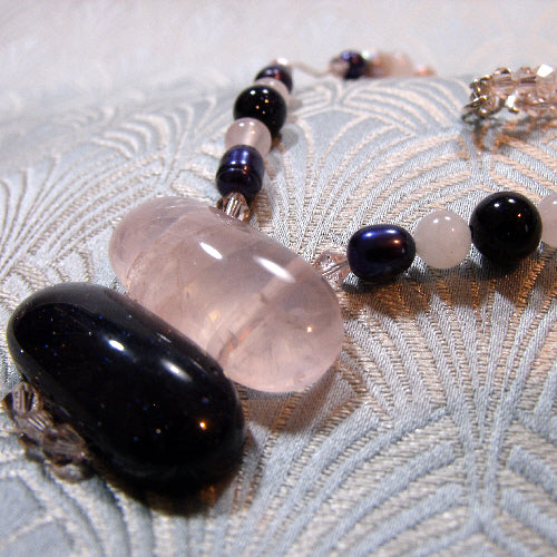 rose quartz necklace, unique semi-precious stone necklace,  handmade necklace uk