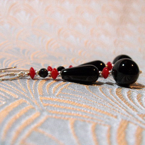 Long Drop Black Unique Earrings