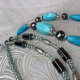 semi-precious blue turquoise long beads
