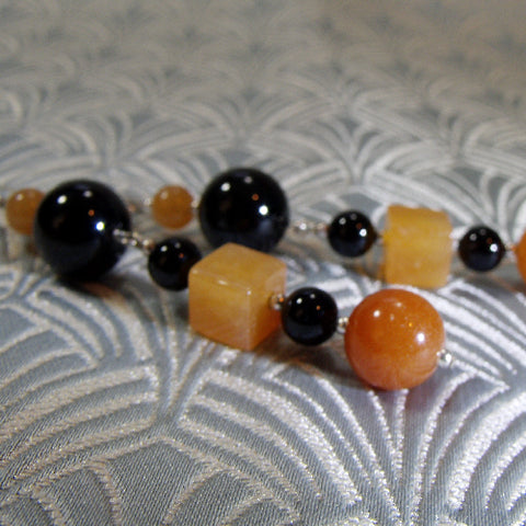 Black Orange Gemstone Earrings UK