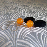 black orange semi-precious stone beads