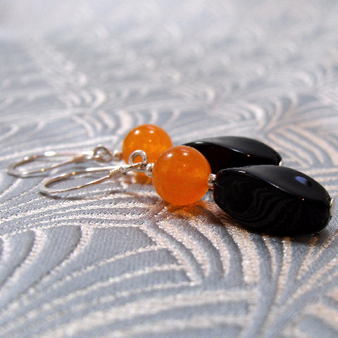 Black Orange Unique Earrings UK