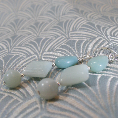 amazonite earrings, long drop earrings uk, semi-precious unique earrings