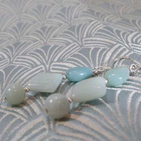 Amazonite Long Unique Earrings UK