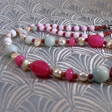 pink necklace bead detail