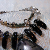 black grey semi-precious stone necklace