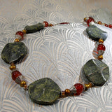 long jade necklace, long semi-precious stone necklace handmade uk