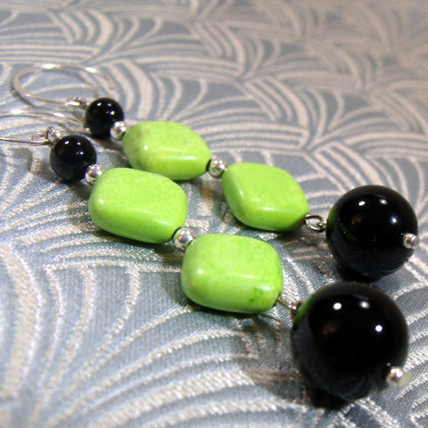 Green Black Long Drop Earrings