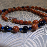 brown goldstone, blue goldstone semi-precious stones