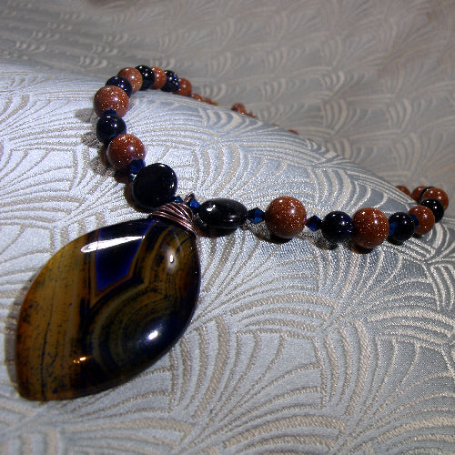 Agate pendant necklace, semi-precious stone jewellery, handcrafted necklace