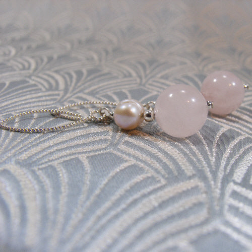 handmade rose quartz jewellery, long drop semi-precious earrings