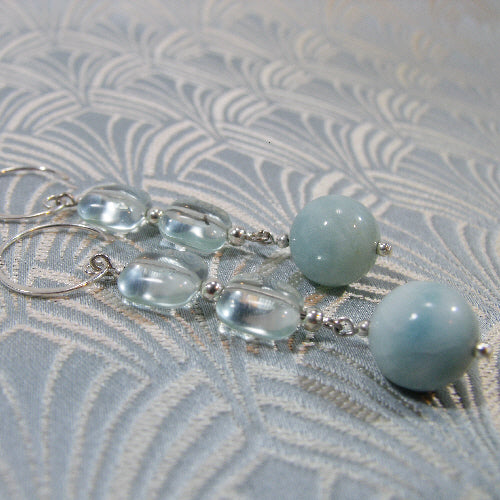 amazonite semi-precious stone earrings, Amazonite earrings uk