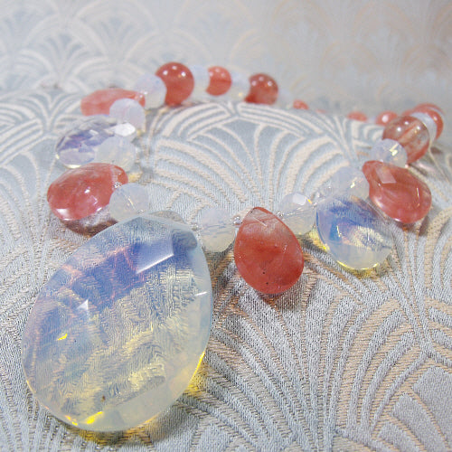 opal quartz handmade necklace, semi-precious gemstone necklace uk