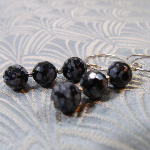 Snowflake Obsidian Unique Earrings